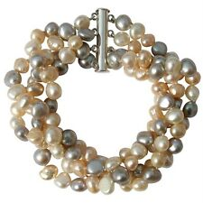 Cultured Freshwater Baroque Pearl Multicolour Four strand chunky bracelet