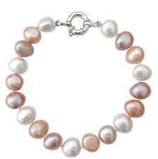 Cultured Freshwater Baroque Pearl Bracelet with a silver clasp in a silk pouch