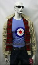 MENS RETRO HARRINGTON JACKET MOD SKIN BEIGE CREAM XS S M L XL XXL 3XL 4XL & 5XL