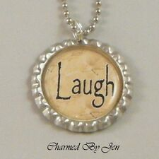 """""""LAUGH"""" Inspirational Word Saying Bottle Cap Charm Altered Art NECKLACE 24"""" NEW"""
