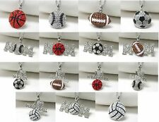 NEW CRYSTAL BASEBALL BASKETBALL FOOTBALL SOCCER VOLLEYBALL MOM PENDANT NECKLACE