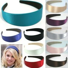 14 COLOR WIDE PLASTIC HEADBAND HAIR BAND ACCESSORY WHOLESALE LOTS SATIN HEADWEAR