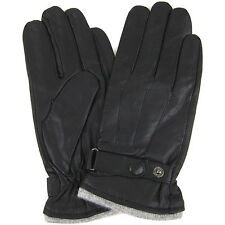 LUXURY MENS BLACK LEATHER GLOVES WITH FLEECE LINING 100% GENUINE