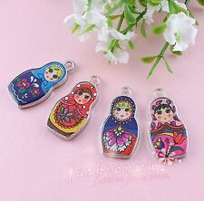 30X Two-Sided Mix Color Enamel Matryoshk Russian Doll Charms