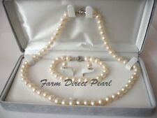 """18"""" AAA ROUND 8-9mm 9-10mm White Pearl Necklace 3pc SET Cultured Freshwater"""