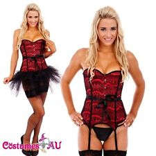 Ladies Burlesque Boned Red Corset Dress Up Costume Showgirl Bustier Tutu Skirt