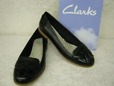 Clarks Angelica Slice Black Leather Smart Slip On Loafers D Fitting