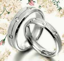 His&Her 3 Diamonds Matching Wedding Engagement Bands Titanium Rings Set Sz4-13