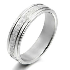 Men Women Silver Wedding Engagement Anniversary Bands Titanium Rings 4mm Sz4-9
