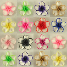 50 PCS Pick Color Polymer Clay Fimo White Petals Plumeria Flower Beads 30mm