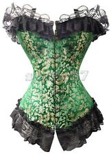 Sexy Green & Gold Regal Victorian Burlesque Overbust Corset