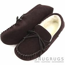 SNUGRUGS MENS GENUINE SUEDE MOCCASIN SHEEPSKIN SLIPPERS SOFT SOLE DARK BROWN