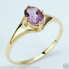 WHOLESALE 9K YELLOW SOLID GOLD RINGS, NATURAL AMETHYST, INSTOCK