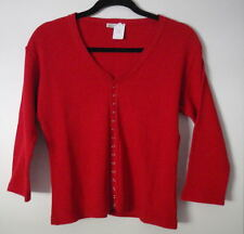 Avalin Cotton Sweater Snap Up Cardigan Red White Brown Variations NEW w Tags!