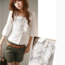 Special Ruffle Square Neck Top Shirt Blouse Office Lady