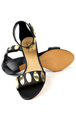 Mark & James Badgley Mischka Marissa Black Gold $295 Leather Sandals Shoes NEW