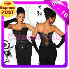 New Burlesque Black Satin Corset Lace up Bustier g string