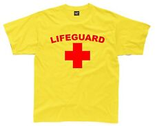 LIFEGUARD Mens T-Shirt S-3XL Yellow/Red Printed Funny Fancy Dress Costume Outfit