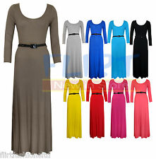 WOMENS LONG SLEEVE JERSEY BELTED FULL MAXI DRESS LADIES TOP DRESSES NEW