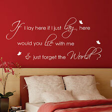 IF I LAY HERE SNOW PATROL With Butterflies Wall Art Stickers, Wall Quote Decals