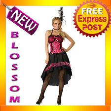 C553 Sexy Saloon Girl Pink Can Can Dancer Fancy Dress Adult Costume