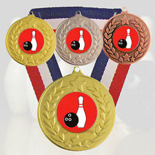 Ten Pin Bowling Medal - R/W/B Ribbon - Free Engraving - Ten Pin Bowling Trophies