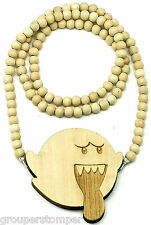 Boo Ghost Necklace Good Wood Style Pendant With 36 Inch Wood Bead Chain Dope