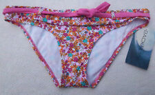 Backflips Pink Floral Bikini Bottoms w/ Pink Belt! Large or XL Bathing Suit! NWT