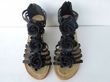 Women's New Attractive Fashion Comfy Flower Theme Wedged Sandals BLACK On Sale