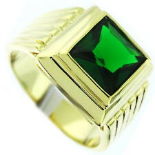 Square Cut Emerald Green Stone 18kt Gold EP Mens Ring New