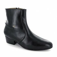 Mens Cuban High Heel Plain Soft Leather Dress/Formal Zip Ankle Boots Black New