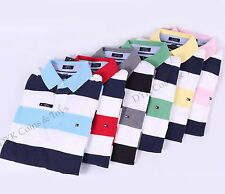 NEW TOMMY HILFIGER MEN'S STRIPE RUGBY POLO SHIRT LONG SLEEVE - FREE SHIPPING