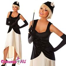 Black Flapper 20s 1920's Chicago Gangster Fancy Dress Costume Full Outfit