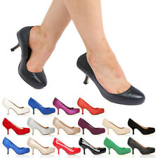 NEW STYLE ADA WOMENS LADIES MID HEEL CASUAL SMART WORK PUMP COURT SHOES SIZE 3-8