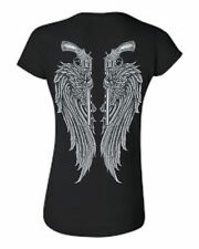 JUNIORS TSHIRT ANGEL WINGS WITH PISTOLS CREW NECK TOP S M L XL 2XL FREE SHIPPING