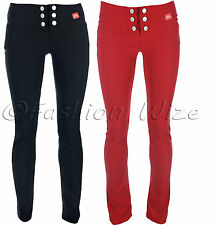 Ladies Girls Smart Work Black Grey Red Navy Fashion Trousers Miss Sexies