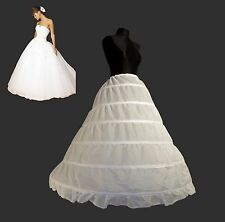 WHITE 6 HOOP PRINCESS PETTICOAT BALLGOWN UNDERSKIRT BRIDAL WEDDING 1 TIER VEIL