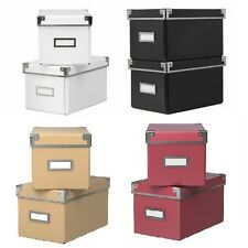 IKEA Kassett CD Storage Boxes with lids 2 Pack Box with lid, various colors, NIP