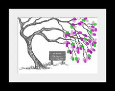 A3 Personalised Blossom Fingerprint Tree Kit up to 90 Guests Wedding Guest Book
