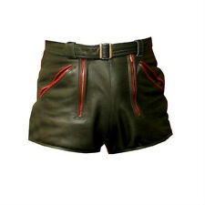 Mens cowhide leather red piping shorts brand new