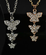 "27""  GOLD OR SILVER TONE CHAIN BUTTERFLY CHARM CLEAR RHINESTONE CRYSTALS"