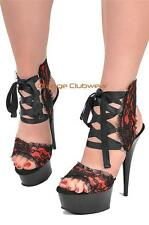 """PLEASER Red Satin Floral Lace 6"""" Stiletto Lace Up Ankle Sandals Heels SIZE 8"""