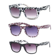 Ladies Animal Print Retro Wayfarer UV400 Sunglasses Cow Zebra Snake Glasses