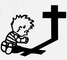 Calvin Praying At Cross Religious Decal   Custom Size/Color
