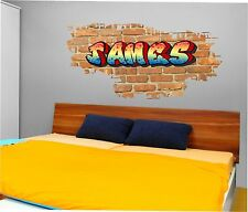Removable Personalised Graffiti Brick & Name Wall Sticker,Decal, Graphic tr34