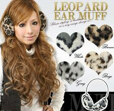 NEW Women Leopard Print Overhead Ear Muffs Warmer Winter Earmuff