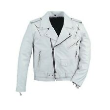 Mens leather white biker motorcycle jacket brand new LLL-122