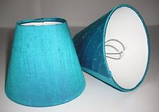 Candle Lampshades Handmade in UK - Bright Turquoise Silk