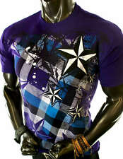 NEW MENS PURPLE CROSS PLAID GRAPHICS SIMPLE ROCKSTAR MMA UFC ROCK T-SHIRT