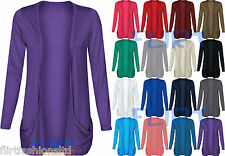 Womens Drop Pocket Boyfriend Open Cardigan Top Ladies Plus SizeUK 16 18 20 22 24